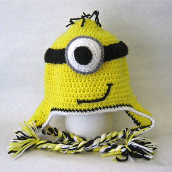 Free Knitting Pattern For Minion Hat With Ear Flaps : Despicable me minion inspired hat with ear flaps teen adult small Auto Desi...