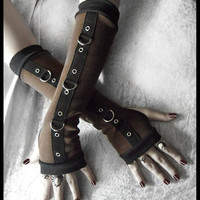 Gas Light Gothic Unisex Bondage Arm Warmers - Dark Brown - Silver Metal D Rings Black - Vampire Lolita Punk Goth Belly Dance Cyber