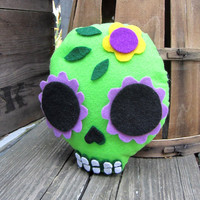 Plush Sugar Skull - Green with Flower