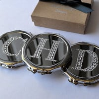 Customized Rhinestone Monogrammed Round Compact Bridesmaid Gift - Your Choice of Letter