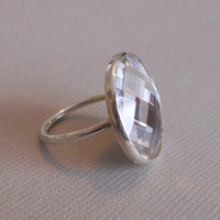Martini Ring - Large Chessboard Swarovski Crystal and Handmade Sterling Silver Ring - Size 6