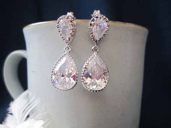 Bridal, wedding, fasion, cubic zirconia pear drop earrings