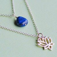 Lotus Double Strand Lapis Necklace  Lapis Lazuli by FizaDesigns