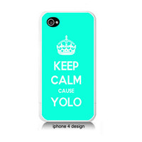 Tiffany Blue Keep Calm Cause YOLO on white Iphone 4/4s case, Iphone cover
