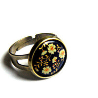 unique VINTAGE CABOCHON RING - 1950s Gem,  Bronze, Size Adjustable