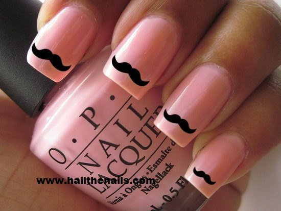 Black Moustache Nail Art Water Transfer Decal
