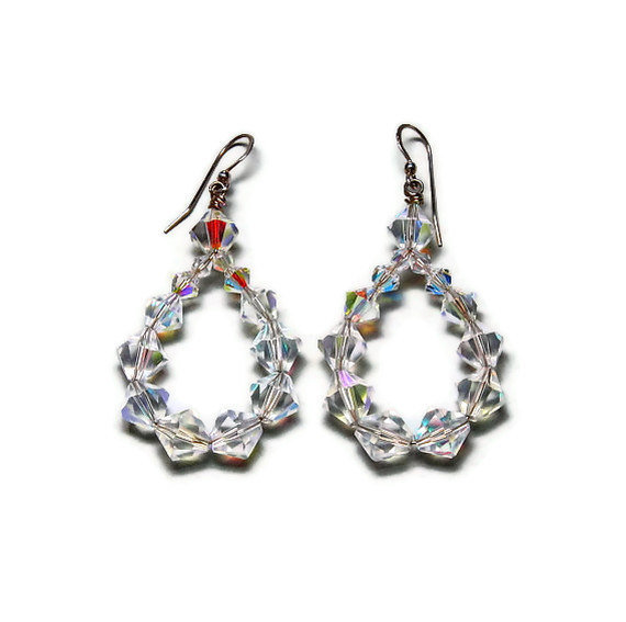 Angelina crystal hoop earrings handmade jewelry on etsy