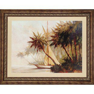 Paragon Sailboat Departing From Island Framed Print - Malarz - 2031