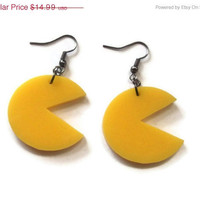 Pacman Earrings, Yellow Acrylic, Laser Cut, Retro Gaming