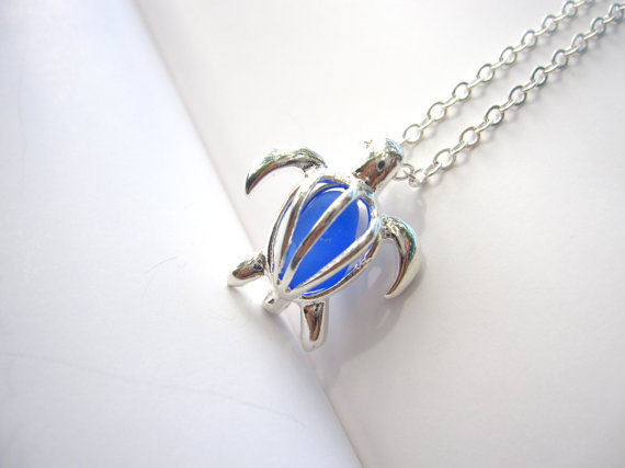 Royal Blue Sea Glass in Sea Turtle Locket Necklace FREE SHIPPING