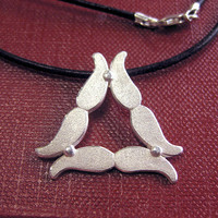 Sterling Silver Tri Mustache Pendant Necklace - Donation to Prostate Cancer Research