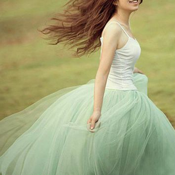 Modern Romantic Princess. Mint Green Tulle Full Skirt. Color Choice