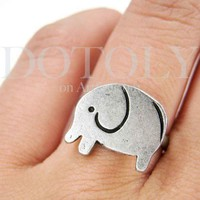 Simple Elephant Adjustable Animal Ring in Silver