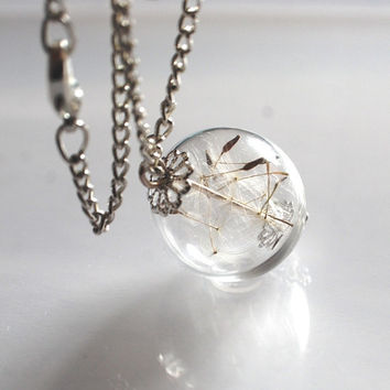 Dandelion Necklace Make A Wish 13 Glass Bead Orb Silver Necklace Botanical  Globe Beadwork