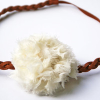 Brown Double Strained Braided Headband with Cream Chiffon Flower