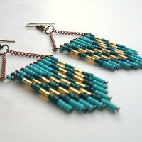 Turquoise Teal and Gold Chevron Earrings