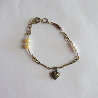 Bronze Chain Bracelet with Vintage Pearls and Heart Charm