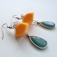 Vintage Orange Lucite and Sea Foam Teardrop Earrings