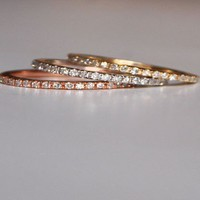 Skinny and stackable eternity diamond wedding by EidelPrecious