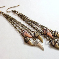 Mixed Metal Shark Tooth Earrings