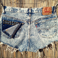 Vintage Levi's Acid Wash Denim High Waist Cut off Shorts, STUDDED, TIE DYE (Size Large)