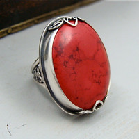 passion flower ... red coral cocktail ring