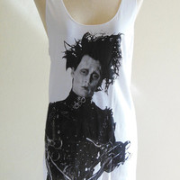 Johnny Depp Shirt Edward Scissorhands Actor Film Movie -- Johnny Depp T-Shirt Women Tank Top Vest Tunic Sleeveless White Shirt Size S , M