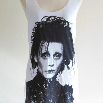 Edward Scissorhands Shirt Johnny Depp Actor Film Movie -- Johnny Depp Shirt Women Tank Top Vest Tunic Sleeveless White Shirt Size S , M