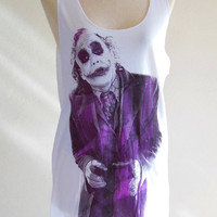 Joker Heath Ledger Batman The Dark Knight Movie --- Joker T-Shirt Women Tunic Vest Tank Top Women Sleeveless Singlet White Shirt Size S , M