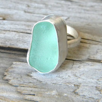 Aqua blue sea glass ring - sterling silver jewelry handmade - chunky ring size 6 (UK/AUS M)