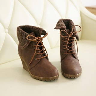 YESSTYLE: A-SO-BI- Fleece-Trim Lace-Up Wedge Boots (Dark Brown - Europe 37) - Free International Shipping on orders over $150