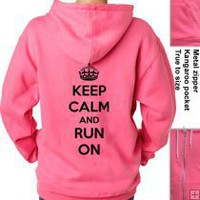 KEEP CALM AND RUN ON Hoodie Unisex Flex Fleece American Apparel 39.95