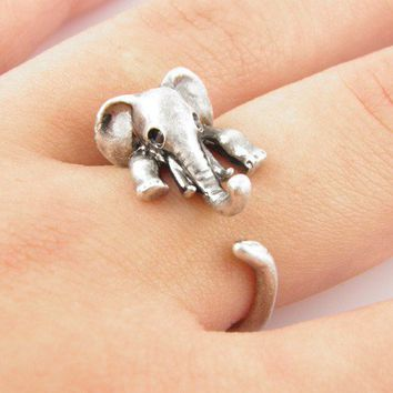 Silver Elephant Wrap Ring - IN STOCK