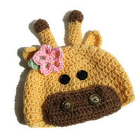 Crochet Giraffe Hat for Baby Girl up to Adult