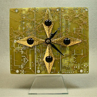 Recycled Geek Clock GOLD CIRCUIT BOARD Midas Touch