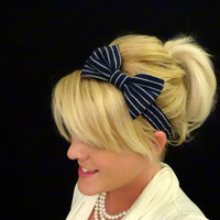 Navy blue and white pinstripe bow headband for adult/child
