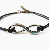 Adjustable infinity wrist bracelet leather bracelet women bracelet girl bracelet with silver karma and black leather bracelet cuff  SH-0302