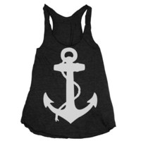Womens NAUTICAL ANCHOR american apparel Tri-Blend Racerback Tank Top S M L (tri-black)