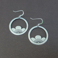 silver rising sun earrings perfect everyday earrings lotus blossom