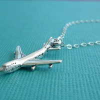 sterling jet plane necklace gift for her