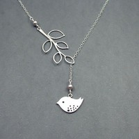 Bird and Branch Lariat Sterling Silver Necklace by RoseAndRaven
