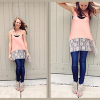 Lace bottom Summer Top in Peach