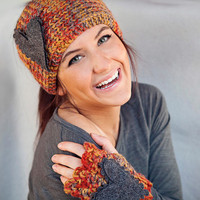Burnt Orange, Rust, Mustard, Brown, Grey Medley Headband and Fingerless Gloves With Felt Hearts