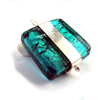 Teal glass pendant, silver brass, rhombus square, emerald green, unique