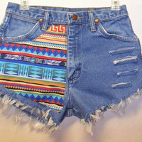 Vintage High Waisted Denim Shorts Front &amp; Back Tribal  Waist  27   Inch