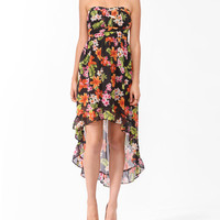 Tropical Print High-Low Dress