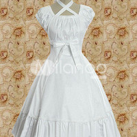 Cotton White Empire Waist Sweet Lolita Dress -  Milanoo.com