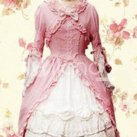 Pink And White Long Sleeves Cotton Gothic Lolita Dress -  Milanoo.com