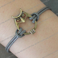 Owl bracelet-owl charm bracelet-gray leather bracelet