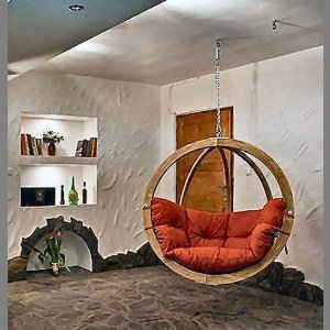 Globo Wooden Single Hanging Pod Chair - Terracotta: Amazon.co.uk: Sports & Outdoors